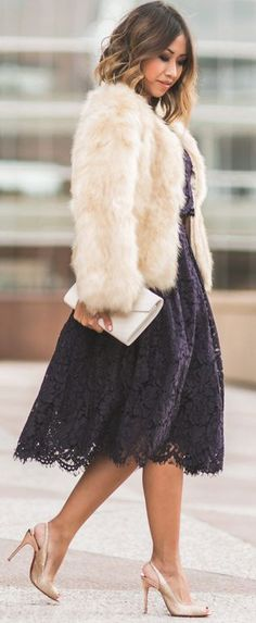Lace & Locks Handbag – Saint Laurent - Bkack Lace Dress - Asos - Faux Fur Jacket – Morning Lavender - Fall Street Style Inspo