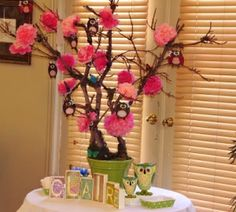 DIY Owl Centerpieces for Baby Shower | Baby Shower Wishing Tree DIY Centerpieces for Baby Shower,Holiday ...