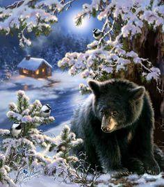 A Merry Little Christmas by Dona Gelsinger ~ black bear ~ winter ~ chickadees