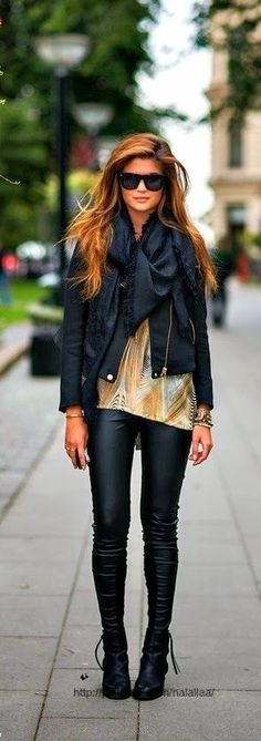 Fall/Winter Outfit Inspiration jeans jacket scarf long shirt black booties/boots sunglasses