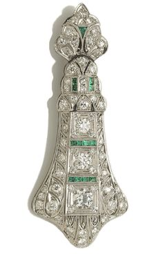 Deco Diamond Pendant | An art deco diamond and synthetic emerald brooch/pendant, circa 1925 ...