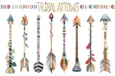 Tribal Arrows Vector PNG, & JPG Set by Kenna Sato Designs on @creativemarket