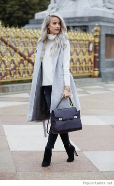 White sweater, jeans and grey vest
