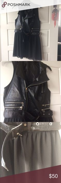 Leather vest NWOT. Chiffon bottom is unlined. Double Zero Jackets & Coats Vests