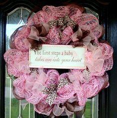 Baby Pink and Brown Deco Mesh Door Wreath. $48.00, via Etsy.