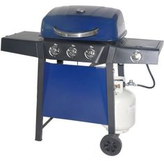 RevoAce 3-Burner LP Gas Grill with Side Burner, Blue Sapphire   Gas Barbeque Reviews