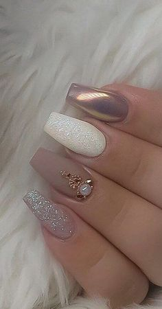 55 The Most Wonderful And Convenient Coffin Nail Designs 2019 - Page 42 of 56 - belikeanactress. com 55 The Most Wonderful And Convenient Coffin Nail Designs 2019 - Page 42 of 56 - belikeanactress. com,nails Design Perfect Nails, Gorgeous Nails, Stylish Nails, Trendy Nails, Elegant Nails, Bride Nails, Weding Nails, Nails For Wedding, Glitter Wedding