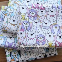 m598_55 - Polar bear and penguin fabrics  - cotton linen fabrics - Half Yard ( 4 color ) by billycottonshop0413 on Etsy