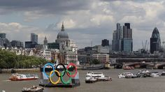 Giant Olympic Rings welcome visitors to London 2012