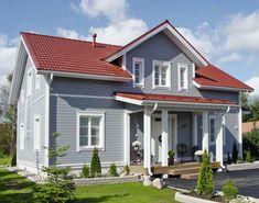 hartman-home-house – Decoration ideas House Exterior Color Schemes, Exterior Paint Colors For House, Grey Exterior, Dream House Exterior, Paint Colors For Home, Exterior Design, Style At Home, Red Roof House, House Paint Color Combination