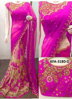 Buy Georgette With Nylon Net Pink Replica Saree