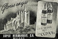 From Barcelona in 1950 an advertisement for A. Cava 16 brandy by Lopez Hermanos of Malaga.