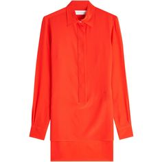 Victoria Beckham Silk Chiffon Shirt ($685) ❤ liked on Polyvore featuring tops, red, shirt top, slim fit shirts, tailored slim fit shirts, victoria beckham top and slimming tops