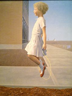 Child skipping by Alex Colville Alex Colville, Canadian Painters, Canadian Artists, Christopher Pratt, Illustration Photo, People Illustration, Canadian Army, Tate Gallery, Magic Realism
