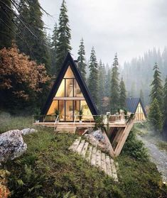 Stunning A-frame cabin with a sleek style. This ties together the best of modern architecture and cabin life against the most enchanting forest landscape. A Frame Cabin, A Frame House, Beautiful Homes, Beautiful Places, House Beautiful, Beautiful Interiors, 3d Architectural Visualization, Architecture Visualization, Architectural Digest