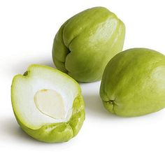 The unusual-looking vegetable known as chayote (chah-YO-tay) is part of the gourd family, which includes cucumbers, squashes, and melons. In season from September through May (when summer squash is not), chayote is similar in flavor—sweetly fresh, with delicate notes of cucumber—and has a firm, crisp crunch