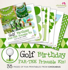 Golf fans, I have just the thing for you! I'm so excited to debut my new page golf birthday party printables collection! This is a pre-personalized kit that I set up for you, using your child's name and age, so all you have to do . Happy Birthday Name, 4th Birthday, Birthday Party Themes, Birthday Ideas, Golf Party, Sports Party, Golf Theme, Kit, Party Printables