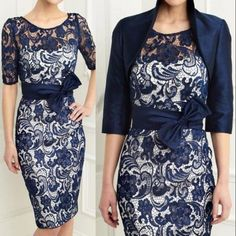 Navy Blue Satin Lace Mother Of The Bride Dresses With Bow Free Jacket Plus Size #2015MotheroftheBrideGroomDresses