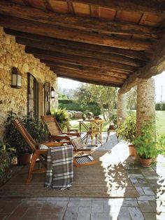 Small Front Porches, Decks And Porches, Outdoor Rooms, Outdoor Living, Outdoor Decor, Patio Design, Exterior Design, Southern Porches, Provence Style