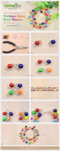 Jumpring 4 et 10 mm, perles 8 mm -- TUTORIAL +++ Chainmail Bracelet Pattern-Make Rainbow Wood Bead Bracelet with Jumprings Wire Jewelry, Jewelry Crafts, Jewelery, Diy Schmuck, Schmuck Design, Beaded Jewelry Patterns, Bracelet Patterns, Beaded Earrings, Beaded Bracelets