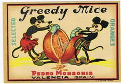 Greedy Mice Pedro Monsonis  1930's  original Spanish Orange Crate label