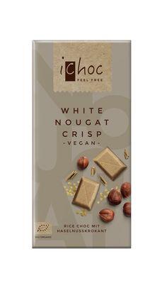 White Nougat Crisp - vegan organic chocolate with finest hazelnut nougat and sweeeeetest brittle crispies. #veganchocolate #ichoc