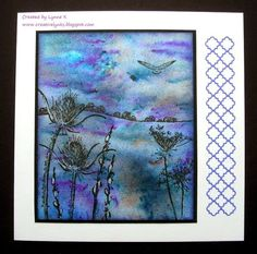 By Lynne K. Sprinkle Brusho powder onto watercolor paper. Spritz with water. Let dry. Stamp images in black ink. Highlight with white gel pen.