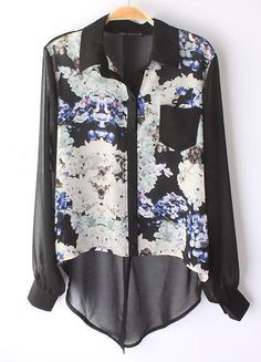 Black Long Sleeve Floral Asymmetrical Chiffon Blouse - Sheinside.com