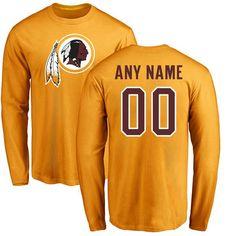 Men Washington Redskins NFL Pro Line Gold Custom Name and Number Logo Long  Sleeve T- dda0afc02