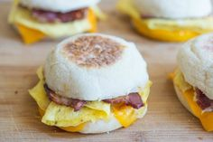 These breakfast sandwiches can be made ahead and stored in the freezer. Just microwave when ready to eat! Made with egg crepes, ham, bacon, and cheese!