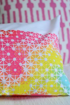 fun stenciled pillow via @Sherry @ Young House Love