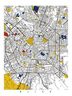 Milan Map Art / Milan, Italy Wall Art / Print / Poster / Modern Abstract Home Decor Brisbane Australia, Australia Map, Milan Map, Belgium Map, Piet Mondrian, Map Design, Design Ideas, Diy Crafts Home, Interior Design Offices