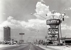 The Las Vegas Strip in Spring 1966. The Aladdin had just opened. Its site is Planet Hollywood today and the site of the Dunes is Bellagio.
