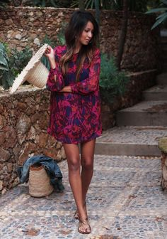Women Mini Dress 2015 Autumn New Arrival Casual Loose O-neck Full Sleeve Floral Print Dresses Vestidos Look Fashion, Fashion Beauty, Estilo Hippie, Mode Outfits, Skirt Outfits, Looks Style, Mode Inspiration, Mode Style, Spring Summer Fashion