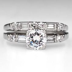 Vintage Diamond 1940's Engagement Ring Wedding Set in Platinum - EraGem