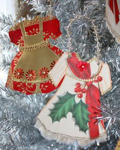 paper doll dresses for the Christmas tree