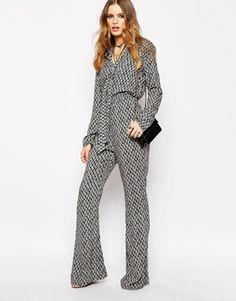 Enlarge Glamorous Long Sleeve Printed Jumpsuit