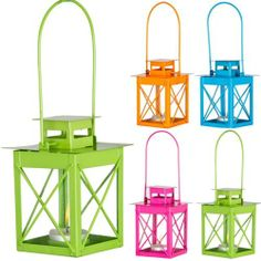 Colourful Outdoor Garden Hanging Metal Candle Lantern Holder Tea Lighting Patio | eBay (they have pastel versions of these in tesco right now - £5 each. I think these would look great hanging either on a twine like rope or invisible fishing line).