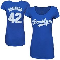 Majestic Brooklyn Dodgers Women's Scoop Neck N&N T-Shirt - Royal Blue