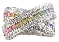 Pastel Rainbow Sapphire and Diamond Ring