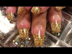 HOW TO COFFIN GOLD GLITTER NAILS PART 1 pink acrylic - YouTube
