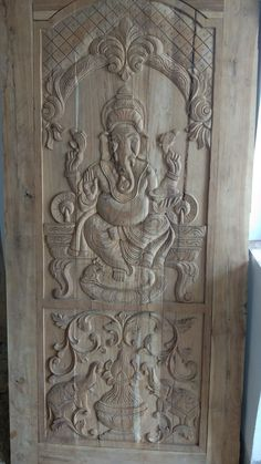 Home Door Design, Temple Design For Home, Wooden Main Door Design, Wood Design, Cnc Wood Carving, Wood Carving Designs, Wooden Door Hangers, Wooden Doors, Front Elevation Designs