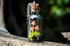 Mushroom terrarium necklace unique necklace for by VeinsOfNature