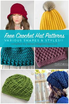 free crochet hat patterns   free crochet patterns   crochet patterns   Use these free crochet patterns to make adorable crochet hats for all the women in your life. From crochet slouchy hat patterns to crochet messy bun patterns, there are hat patterns of all shapes and designs in this collection on Daisy Cottage Designs.