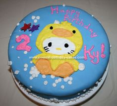Homemade Hello Kitty Ducky Cake: For my daughter's 2nd birthday I wanted to use two of her favorite things in her cake. Hello Kitty, and duckies...