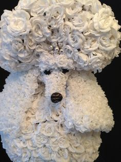 Beautiful custom created Floral Sculpture Poodle. Inquire about event decor rental or custom gift orders. Table Art & Event Designs  http://www.tablearteventdesigns.com/index.htm. Floralsculptures@gmail.com