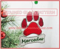 Dog Paw Pattern - Stained Glass Ornament - Instant Download PDF ...
