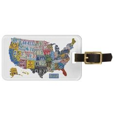 Colorful License Plates of 50 States Luggage Travel Tag