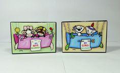 Ferret Art Print Blocks Set - Girl/Boy Forts, Childrens Art Shelly Mundel #FerretArt