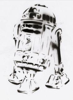 R2D2 Stencil by crusty-punk